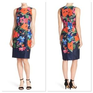Eliza J Floral Print Sleeveless Scuba Sheath Dress